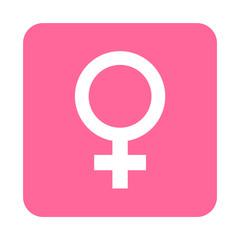 Icono plano femenino en cuadrado rosa