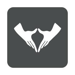 Icono plano manos feminismo en cuadrado gris