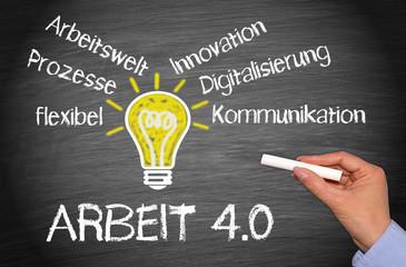 Arbeit 4.0 - Veränderung der Arbeitswelt durch Digitalisierung und Fortschritt, Idee Konzept mit Glühbirne und Text
