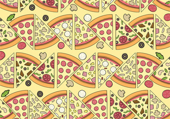 Delicious Pizza Pattern with ingredients