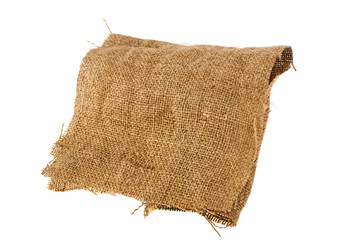 Cloth burlap on a white background