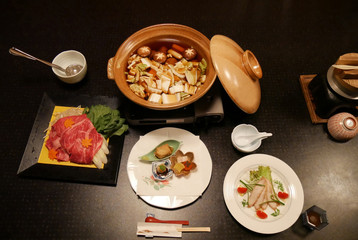 Raw beef slice and vagetables for Japanese style sukiyaki
