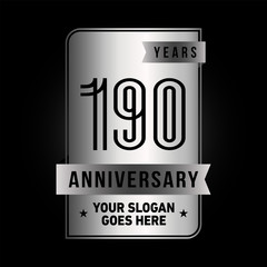 190 years anniversary design template. Vector and illustration.