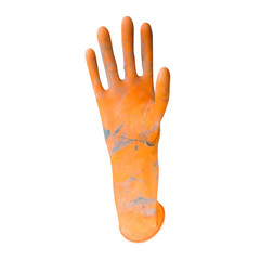 dirty orange rubber gloves isolated on white background with clipping path