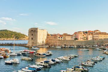 Sailing boats at St John Fortress and Old port Dubrovnik