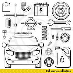 Car service collection. Car mechanics tools and accessories. Vector illustration.