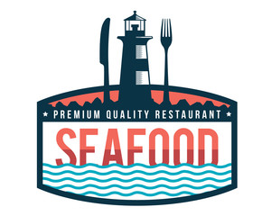 Modern Premium Seafood Restaurant Logo Badge Illustration