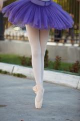 Ballet legs on the point outdoor.