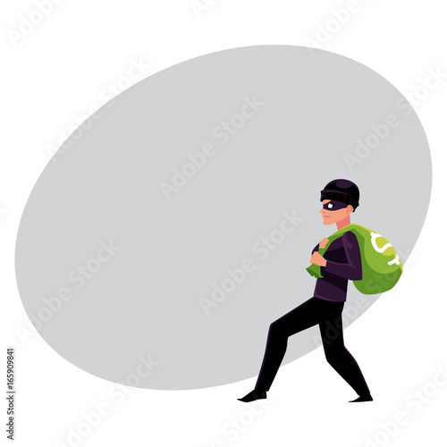 Thief Robber Burglar Trying To Escape With A Money Bag Cartoon Vector Illustration