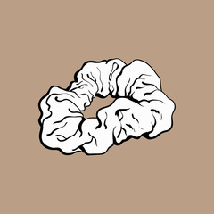 Scrunchy, elastic fabric covered hair tie, fashion accessory from 90s, sketch vector illustration isolated on brown background. Colorful fabric covered hair tie, band, scrunchie, popular item from 90s