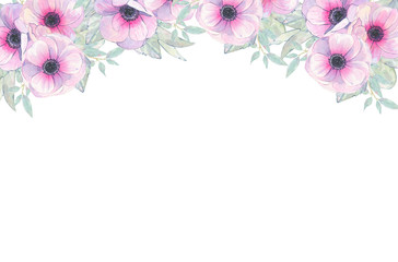 Watercolor hand painted flower pink anemone invitation card isolated on white background
