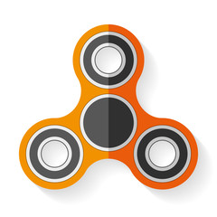 Hand spinner icon in flat style, orange toy on white background. Vector design element for you project