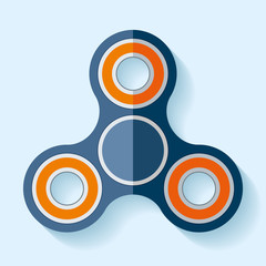 Hand spinner icon in flat style, toy on blue background. Vector design element for you project
