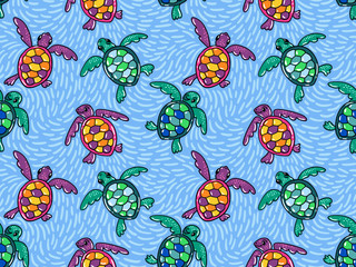 Vector seamless pattern with  ocean turtles. Blue ethnic hand drawn fabric design.