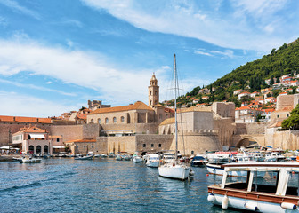Boats in Old port at Dubrovnik Croatia