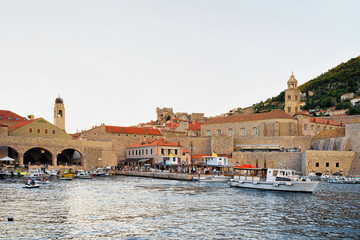 Old port with sailboats in Adriatic Sea in Dubrovnik