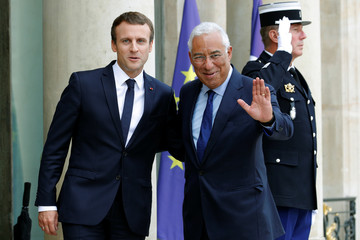French President Macron welcomes Portugal's Prime Minister Costa at the Elysee Palace in Paris
