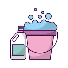 laundry bucket with detergent bottle