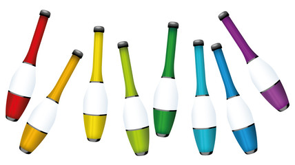 Juggling clubs, colored collection - three-dimensional isolated vector illustration on white background.