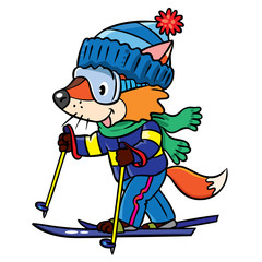 Funny fox rides on skis.