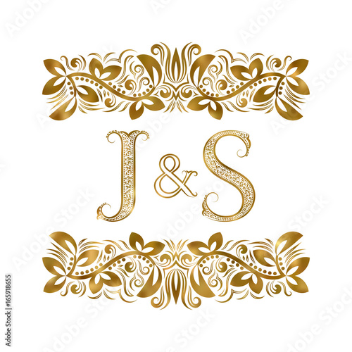 J And S Vintage Initials Logo Symbol The Letters Are Surrounded By Ornamental Elements
