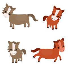 Set of cute horses
