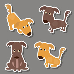 Set of cute dogs stickers