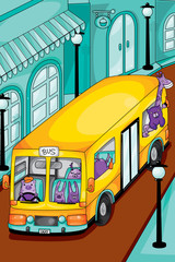 animals yellow bus in the city. vector illustration