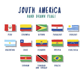 Set of flags of South American countries. Vector hand drawn illustrations, cartoon style