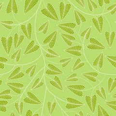 Seamless green leaves background. Objects grouped and named in English. No mesh, gradient, transparency used.