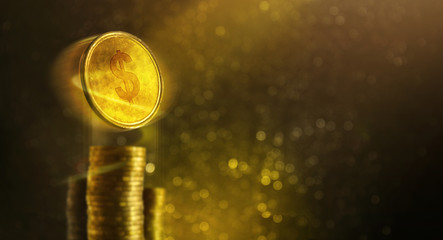 Financial Concept, Golden Dollars Coin flying, Coin Stack and luxury gold bokeh as background