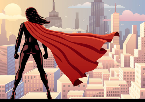 Super Heroine Watch 2 / Super heroine watching over city.