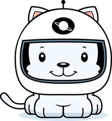 Cartoon Smiling Astronaut Kitten