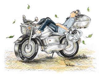 Biker life style cartoon paint is freedom he sleeping on bike