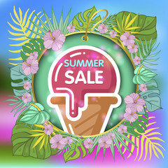 Summer sale background with tropical palm leaves and ice-cream_13
