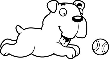 Cartoon Bulldog Chasing Ball
