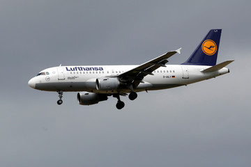 A Lufthansa Airbus A319 airplane lands at the Charles de Gaulle International Airport in Roissy, near Paris
