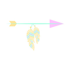 Decorative arrows with feathers boho style