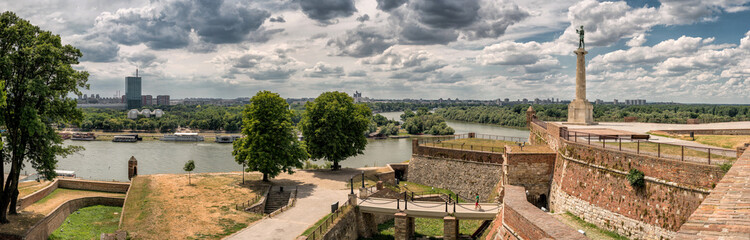 Kalemegdan fortress and Victor monument Belgrade, Kalemegdan fortress, Usce Sava and Danube confluence view at cloudy summer day