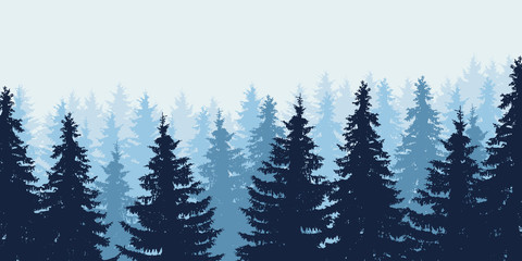 Blue realistic vector illustration of forest in winter under blue sky, layered