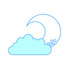 cute moon with cloud