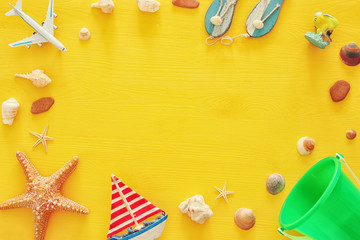 top view beach and vacation concept with nautical life style objects