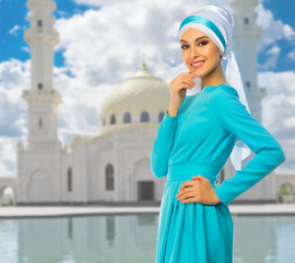 Muslim woman at mosque background