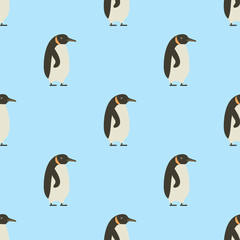 Seamless pattern of penguins on blue background winter bird cartoon cold ice animal wallpaper vector illustration.