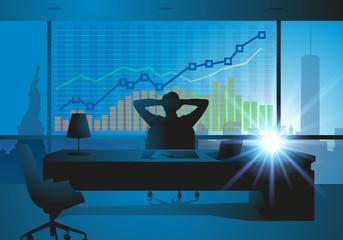 homme d'affaires - bureau - statistique - entreprise - réussite - New-York - croissance