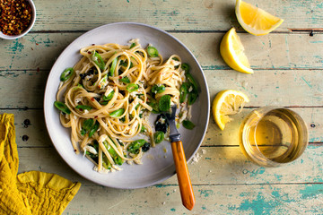 Crab Pasta with Sugar Snap Peas and Mint