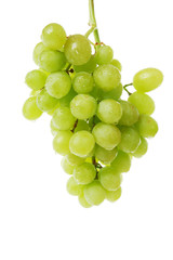 Green grape with leaves isolated on white. With clipping path