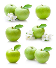 set green apple fruits with leaf isolated on white background