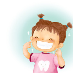 Cartoon Little girl smile