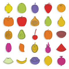 Fruit doodle icons set. Fruit doodle vector illustration for design and web isolated on white background. Fruit vector object for labels, logos and advertising